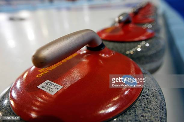 A detailed view of the stone or rocks lined up on the ice during Day 2 of the Titlis Glacier Mountain World Women's Curling Championship at the Volvo...