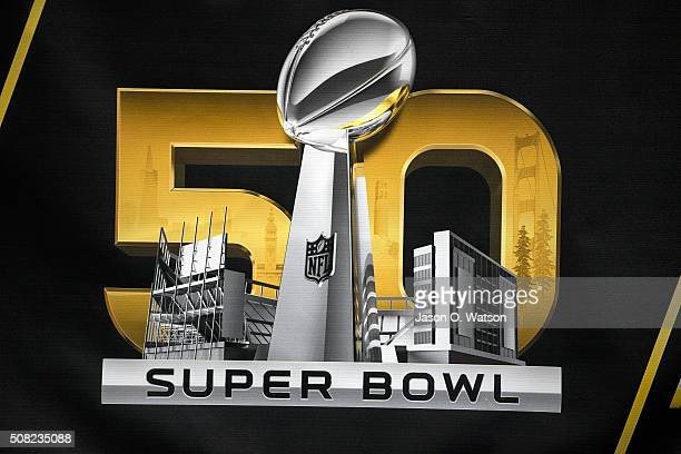 Detailed view of the Super Bowl 50 logo during the NFL Experience exhibition before Super Bowl 50 at the Moscone Center on February 3 2016 in San...