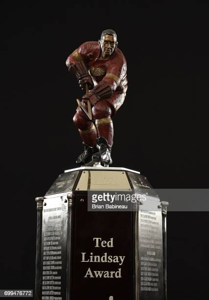 A detailed view of the Ted Lindsay Award is seen at the 2017 NHL Awards at TMobile Arena on June 21 2017 in Las Vegas Nevada