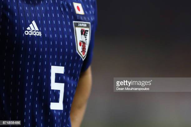 A detailed view of the the adidas shirt worn by Yuto Nagatomo of Japan during the international friendly match between Belgium and Japan held at Jan...