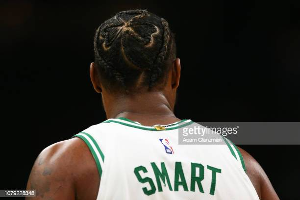 A detailed view of the the new haircut on Marcus Smart of the Boston Celtics during a game against the Brooklyn Nets at TD Garden on January 7 2019...