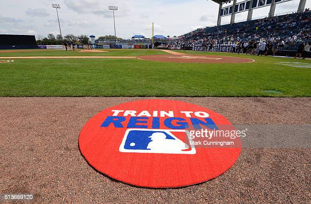 A detailed view of the Train To Reign and MLB logos on the ondeck circle prior to the Spring Training game between the Detroit Tigers and the New...