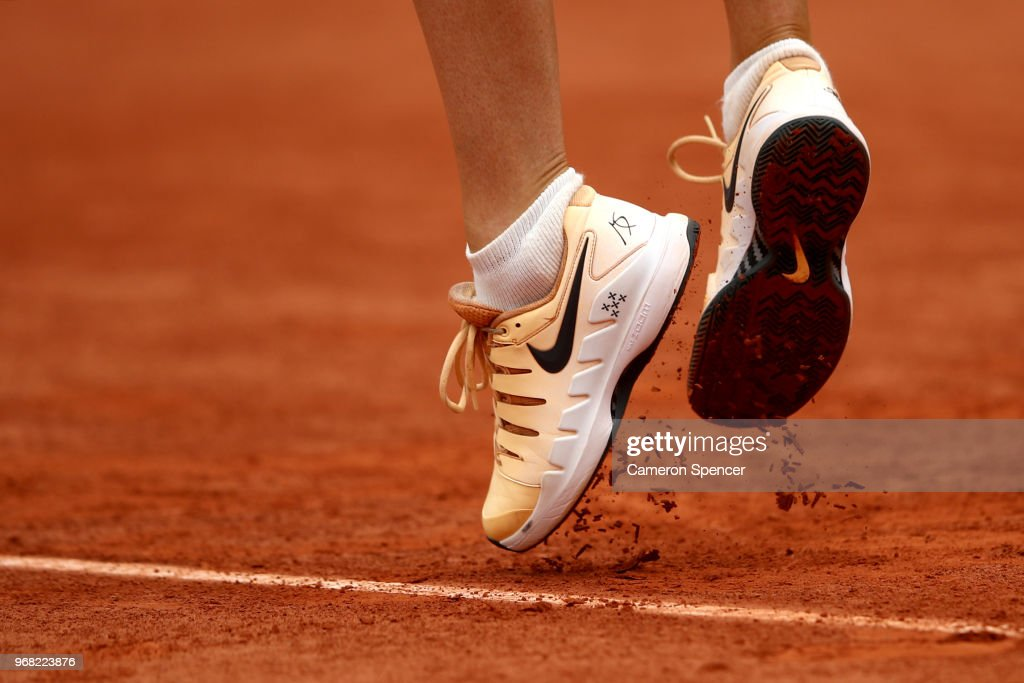 A detailed view of the trainers of Maria Sharapova of Russia as she serves during the ladies singles quarter finals match against Garbine Murguruza of Spain during day eleven of the 2018 French Open at Roland Garros on June 6, 2018 in Paris, France.