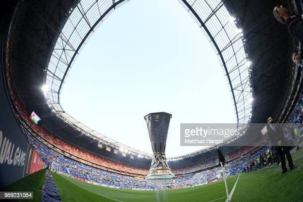 A detailed view of the trophy ahead of the UEFA Europa League Final between Olympique de Marseille and Club Atletico de Madrid at Stade de Lyon on...