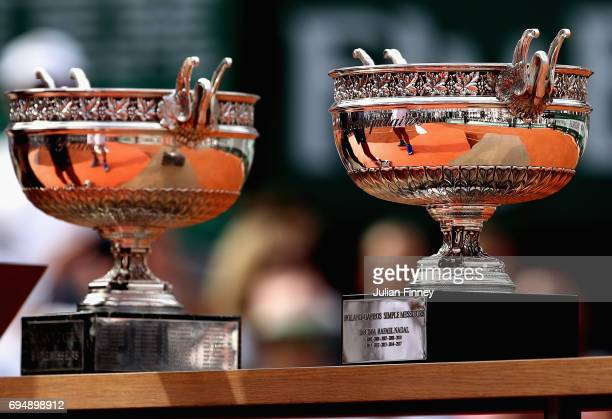 Detailed view of the trophy following the mens singles final between Rafael Nadal of Spain and Stan Wawrinka of Switzerland on day fifteen of the...