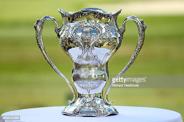 A detailed view of the trophy won by George Lyon of Canada at the 1904 Olympics during an Olympic Golf press conference at the World Golf...