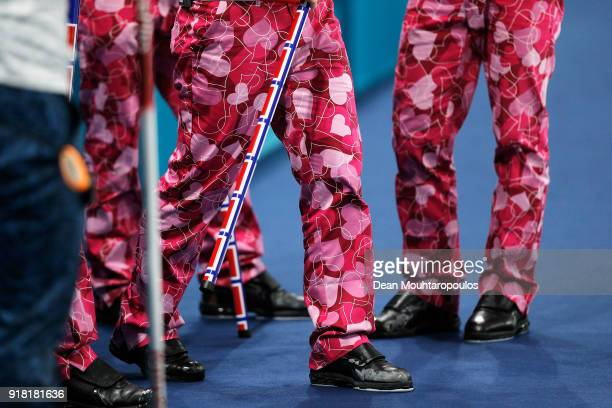 A detailed view of the trousers or pants worn by Christoffer Svae Torger Nergard Thomas Ulsrud and Havard Vad Petersson of Norway as they compete in...