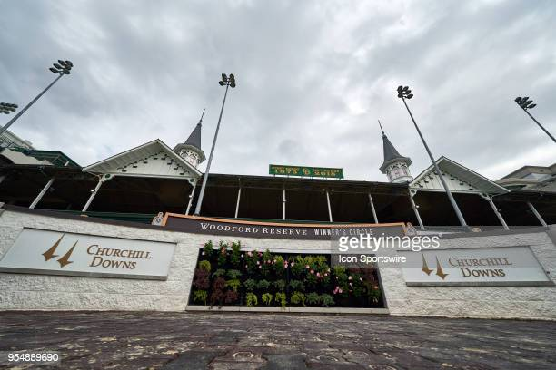 Detailed view of the twin spires at Churchill Downs and the Woodford reserve winner's circle is seen during Kentucky Oaks Day at Churchill Downs on...