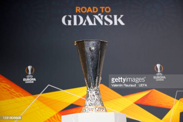 Detailed view of the UEFA Europa League trophy ahead of the UEFA Europa League 2020/21 Quarter-finals and Semi-finals draw at the UEFA headquarters,...