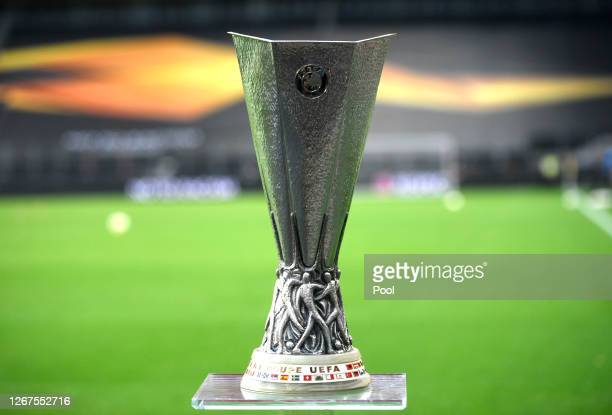Detailed view of the UEFA Europa League Trophy is seen prior to the UEFA Europa League Final between Seville and FC Internazionale at...