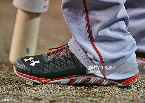 A detailed view of the Under Armor baseball cleats from the Los Angeles Angels of Anaheim prior to the start of the game against the Detroit Tigers...