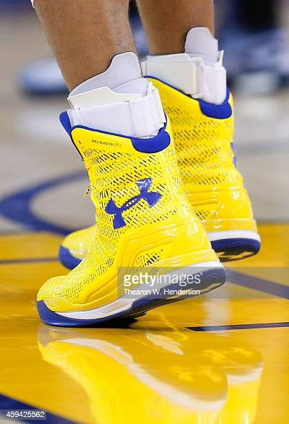 A detailed view of the Under Armour basketball shoes worn by Golden State Warriors guard Stephen Curry against the Utah Jazz at ORACLE Arena on...