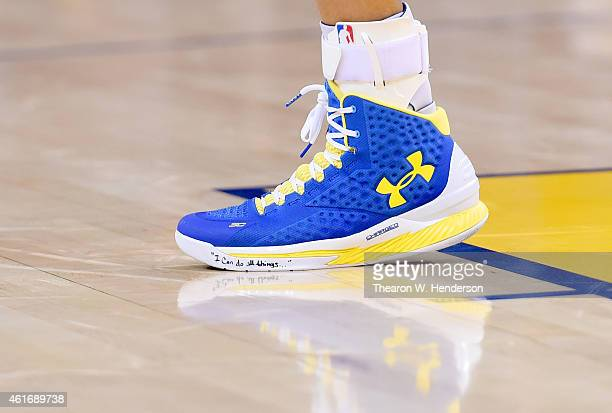 Detailed view of the Under Armour basketball shoes worn by Stephen Curry of the Golden State Warriors against the Miami Heat at ORACLE Arena on...