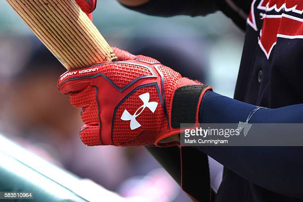 A detailed view of the Under Armour batting glove worn by Francisco Lindor of the Cleveland Indians while waiting to bat during the game against the...
