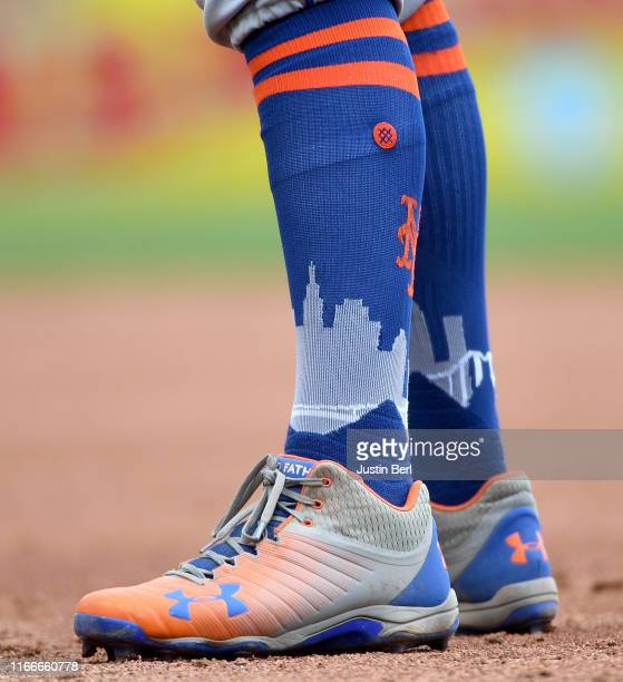 Detailed view of the Under Armour cleats and Stance socks worn by Todd Frazier of the New York Mets during the game against the Pittsburgh Pirates at...