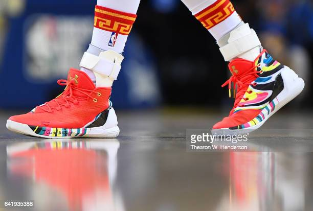 """Detailed view of the Under Armour """"Curry 3's"""" basketball shoes worn by Stephen Curry of the Golden State Warriors against the Chicago Bulls during an..."""