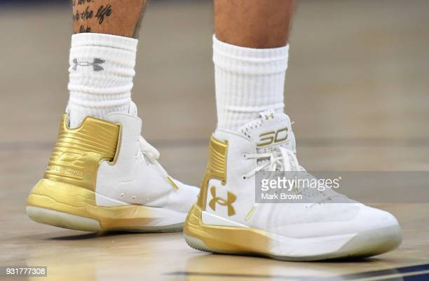 Detailed view of the Under Armour shoes worn by Jarron Cumberland of the Cincinnati Bearcats in action during the final game of the 2018 AAC...