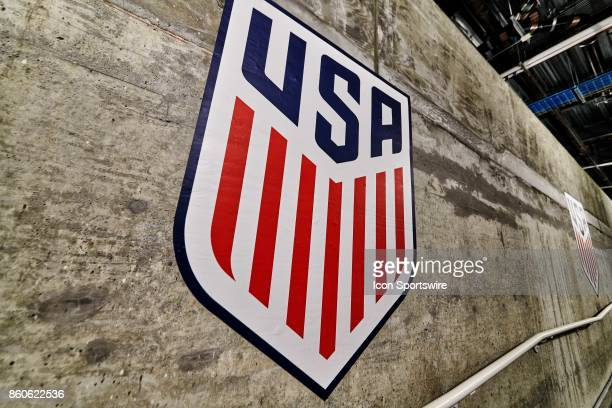 A detailed view of the United States Crest Logo is seen during the World Cup Qualifying match between the the United States and Panama on October 6...