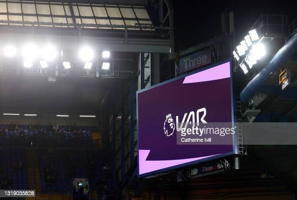 Detailed view of the VAR screen during the Premier League match between Chelsea and Leicester City at Stamford Bridge on May 18, 2021 in London,...