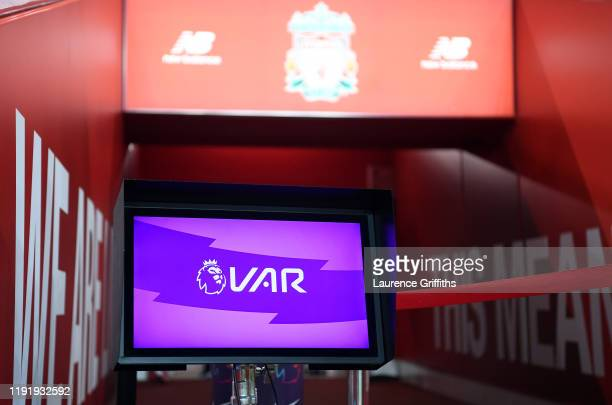 Detailed view of the VAR screen prior to the Premier League match between Liverpool FC and Everton FC at Anfield on December 04, 2019 in Liverpool,...