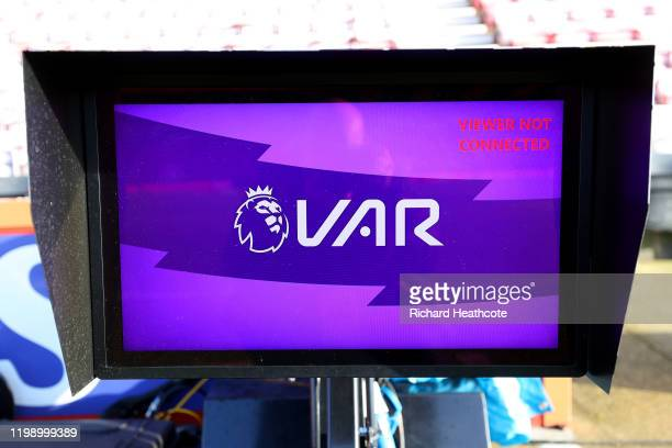 Detailed view of the VAR screen prior to the Premier League match between AFC Bournemouth and Watford FC at Vitality Stadium on January 12, 2020 in...