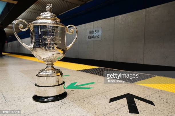 Detailed view of the Wanamaker Trophy at the 19th Street BART Station on February 17, 2020 in Oakland, California.
