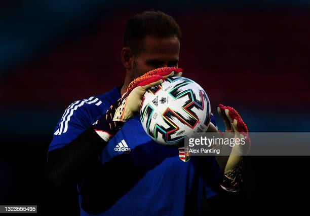 Detailed view of the warm up ball help by Denes Dibusz during the Hungary Training Session ahead of the Euro 2020 Group F match between Hungary and...