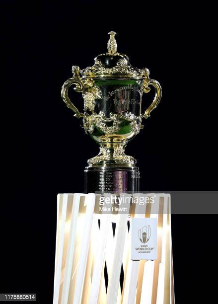 A detailed view of the Webb Ellis Cup is seen prior to the Rugby World Cup 2019 Group A game between Japan and Russia at the Tokyo Stadium on...