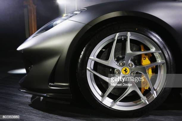 A detailed view of the wheel of the new Ferrari 812 Superfast at the Australasian Premiere on June 28 2017 in Melbourne Australia The 812 Superfast...
