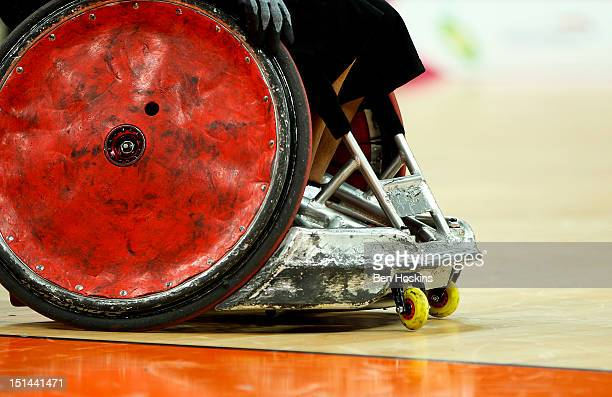 A detailed view of the wheelchair of Daisuke Ikezaki of Japan during the Men's Pool Phase Group A match between Great Britain and Japan on day 9 of...