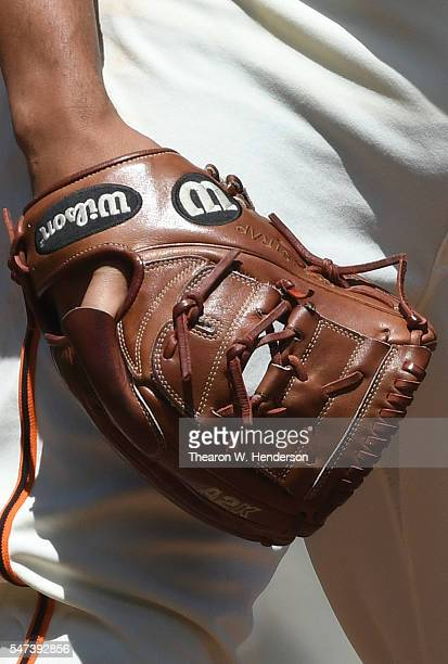 A detailed view of the Wilson baseball glove worn by Javier Lopez of the San Francisco Giants against the Arizona Diamondbacks in the top of the...