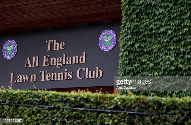 A detailed view of the Wimbledon Logo from outside The All England Tennis and Croquet Club on June 29 2020 in Wimbledon England The Wimbledon Tennis...