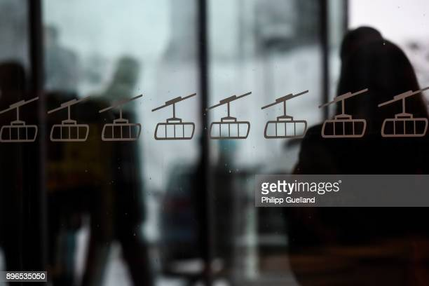 A detailed view of the window of the new 'Eibsee Seilbahn' cable car on December 21 2017 in Grainau Germany The 'Eibsee Seilbahn' breaks three world...
