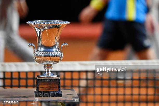 Detailed view of the winner's trophy during the presentation ceremony following the men's final match between Novak Djokovic of Serbia and Diego...
