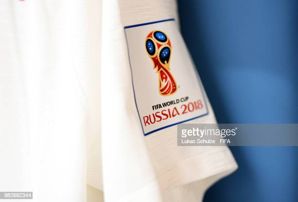 A detailed view of the World Cup 2018 logo is seen on a shirt sleeve inside the England dressing room prior to the 2018 FIFA World Cup Russia group G...