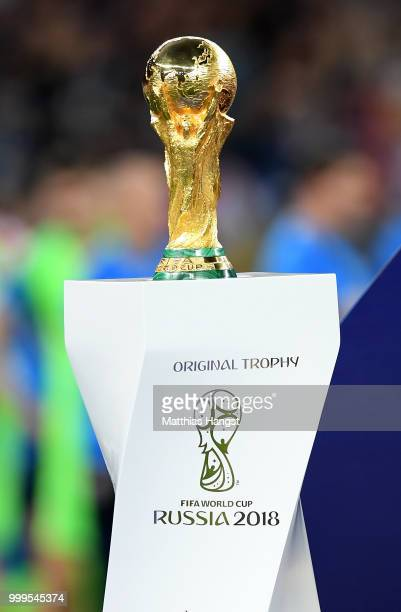 Detailed view of the World Cup Trophy is seen before it is presented to France after the 2018 FIFA World Cup Final between France and Croatia at...