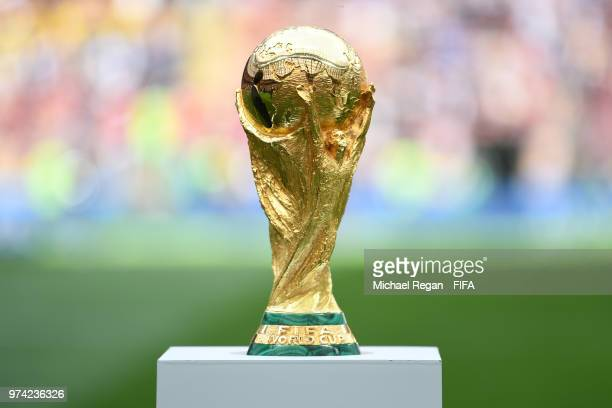 A detailed view of the World Cup Trophy is seen prior to the 2018 FIFA World Cup Russia Group A match between Russia and Saudi Arabia at Luzhniki...