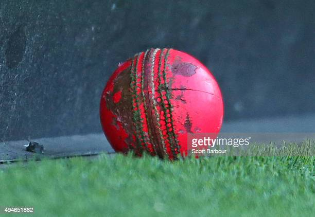 A detailed view of the worn pink cricket ball after it was hit to the boundary during day one of the Sheffield Shield match between Victoria and...