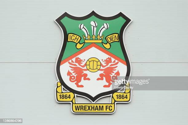 Detailed view of the Wrexham badge is seen during the Vanarama National League match between Wrexham and Aldershot Town at Racecourse Ground on...