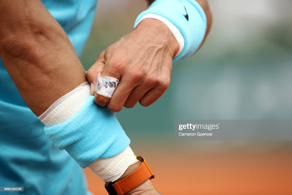 A detailed view of the wrist of Rafael Nadal of Spain during his mens singles quarter finals match against Diego Schwartzman of Argentina during day eleven of the 2018 French Open at Roland Garros on June 6, 2018 in Paris, France.