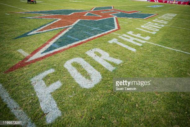A detailed view of the XFL logo on the field during the XFL game between the DC Defenders and the Seattle Dragons at Audi Field on February 8 2020 in...