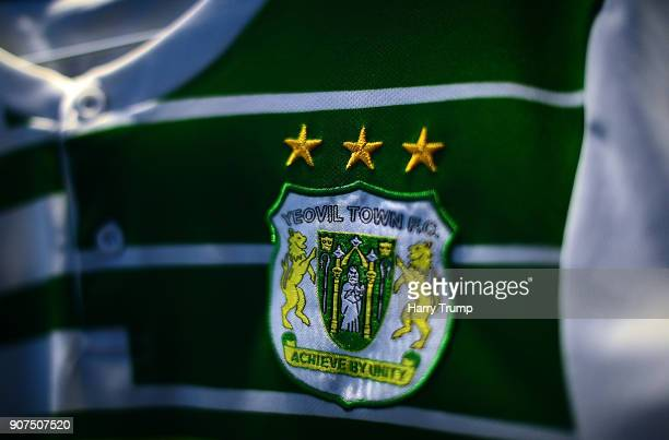 Detailed view of the Yeovil Town badge during the Sky Bet League Two match between Yeovil Town and Chesterfield at Huish Park on January 20 2018 in...