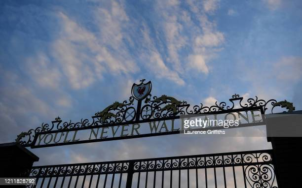 A detailed view of the You'll Never Walk Alone gate at the stadium prior to the UEFA Champions League round of 16 second leg match between Liverpool...