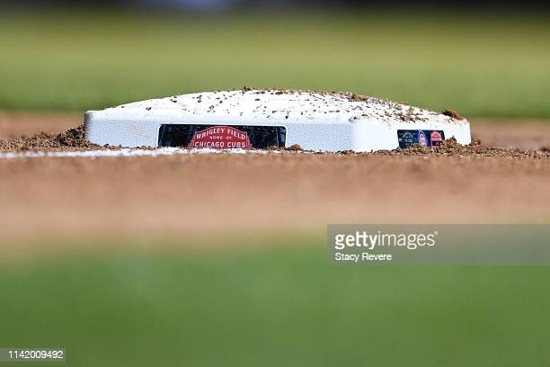 A detailed view of third base during a game between the Chicago Cubs and the Pittsburgh Pirates at Wrigley Field on April 10 2019 in Chicago Illinois