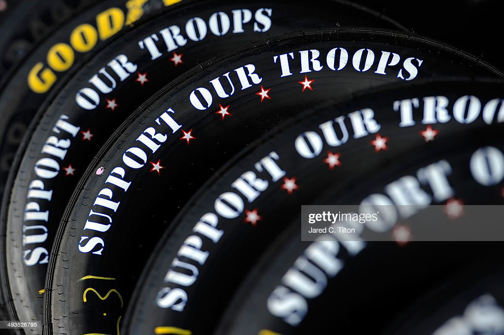 A detailed view of tires reading 'support our troops' in the garage area during practice for the NASCAR Sprint Cup Series Coca-Cola 600 at Charlotte Motor Speedway on May 24, 2014 in Charlotte, North Carolina.