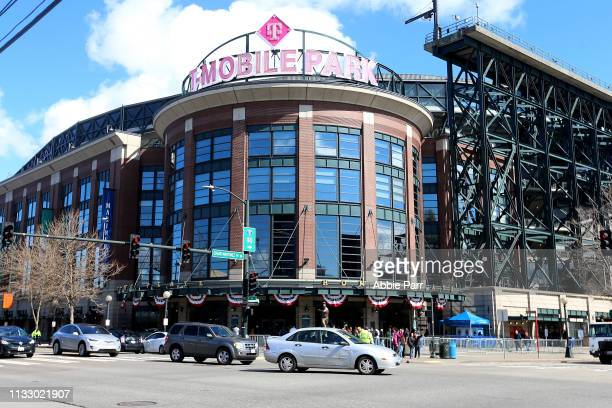 Detailed view of T-Mobile Park as the Seattle Mariners take on the San Diego Padres during their spring training game at T-Mobile Park on March 26,...