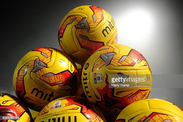 Detailed view of training balls during the Sky Bet League Two match between Yeovil Town and Portsmouth at Hush Park on December 30 2016 in Yeovil...