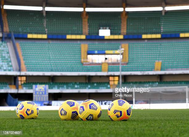 Detailed view of training balls on the pitch prior to kick off during the Serie A match between Hellas Verona FC and US Sassuolo at Stadio...