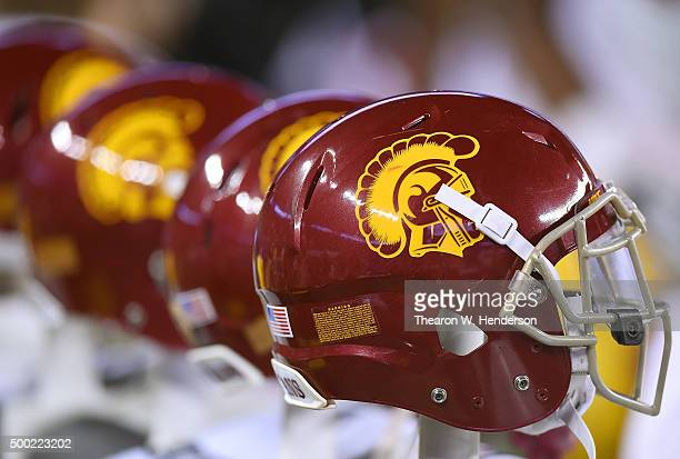 Detailed view of USC Trojans football helmets sitting on the bench against the Stanford Cardinal during the third quarter of the NCAA Pac-12...