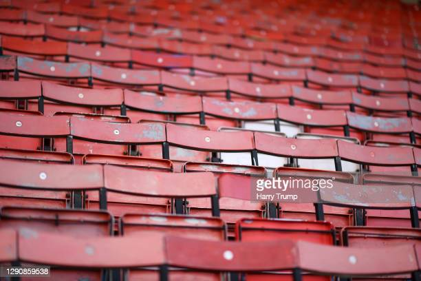 Detailed view of wooden seats inside of the stadium prior to kick off during the Sky Bet League One match between Swindon Town and Fleetwood Town at...